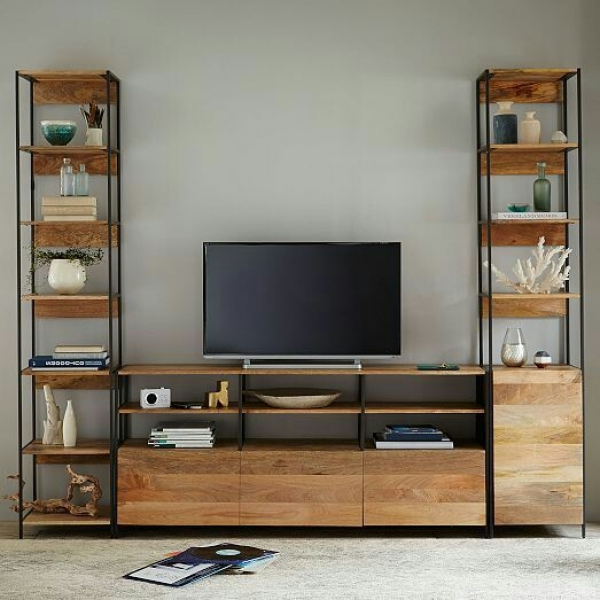 TV console Set with Shelves